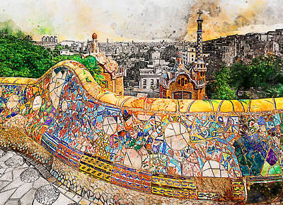 Painting - Barcelona, Parc Guell - 10 by Andrea Mazzocchetti