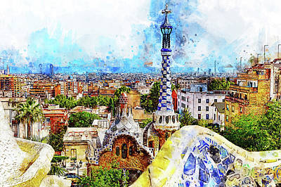Painting - Barcelona, Parc Guell - 11 by Andrea Mazzocchetti