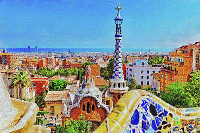 Painting - Barcelona, Parc Guell - 13 by Andrea Mazzocchetti