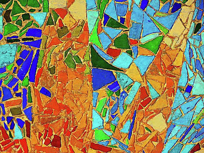 Painting - Barcelona, Parc Guell Azulejos - 01 by Andrea Mazzocchetti