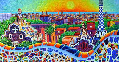 Painting - Barcelona Park Guell Sunrise Modern Impressionism Palette Knife Oil Painting By Ana Maria Edulescu by Ana Maria Edulescu
