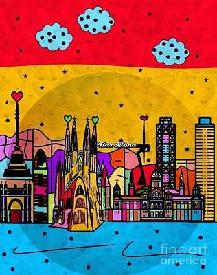Digital Art - Barcelona Popart By Nico Bielow by Nico Bielow