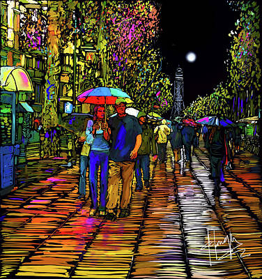 Painting - Barcelona Rain In Spain by DC Langer