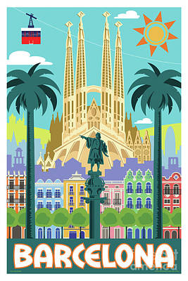Barcelona Digital Art - Barcelona Retro Travel Poster by Jim Zahniser