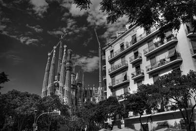 Photograph - Barcelona - Sagrada Familia 001 Bw by Lance Vaughn