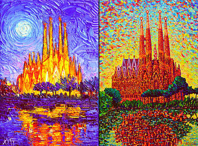 Painting - Barcelona Sagrada Familia Night And Day Modern Impressionism Knife Paintings By Ana Maria Edulescu  by Ana Maria Edulescu