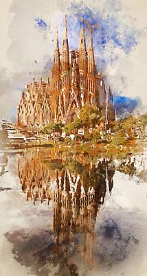 Painting - Barcelona, Sagrada Familia - Watercolor 04 by Andrea Mazzocchetti