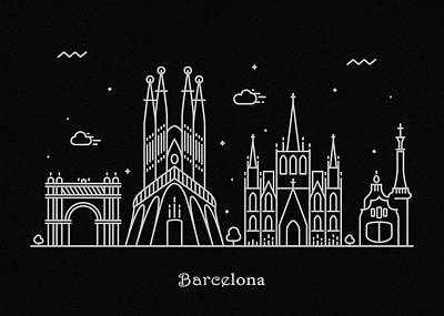 Abstract Landscape Drawing - Barcelona Skyline Travel Poster by Inspirowl Design
