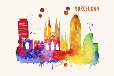 Barcelona Skyline Watercolor Poster - Cityscape Painting Artwork Art Print by Beautify My Walls