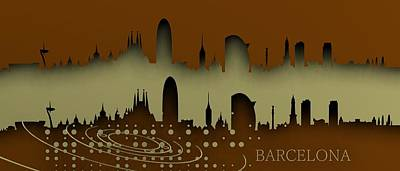 Barcelona Digital Art - Barcelona Skyline.1 by Alberto RuiZ