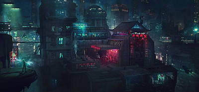 Scifi Painting - Barcelona Smoke And Neons Eixample by Guillem H Pongiluppi