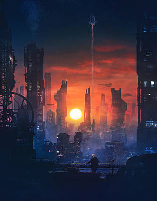 Scifi Painting - Barcelona Smoke And Neons The End by Guillem H Pongiluppi