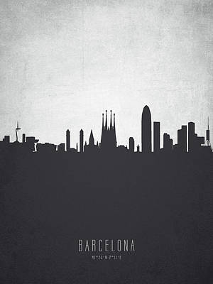 Spain Painting - Barcelona Spain Cityscape 19 by Aged Pixel