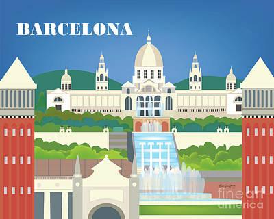 Barcelona Digital Art - Barcelona Spain Horizontal Scene by Karen Young