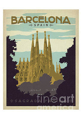 Impressionist Landscapes - Barcelona-Spain by Nostalgic Prints