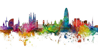 Urban Watercolor Digital Art - Barcelona Spain Skyline Panoramic by Michael Tompsett