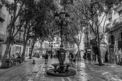 Barcelona Square With Trees Art Print