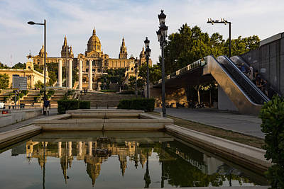 Photograph - Barcelona Street Glow - Golden Light Reflections On Avinguda De La Reina Maria Cristina by Georgia Mizuleva