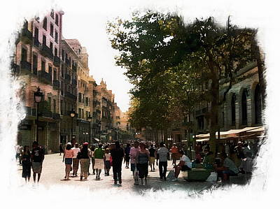 Digital Art - Barcelona Street Scene by Anthony Dezenzio