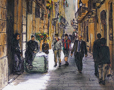 Barcelona Street Sketch Art Print by Randy Sprout