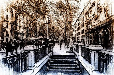 Painting - Barcelona, Streets - 02 by Andrea Mazzocchetti
