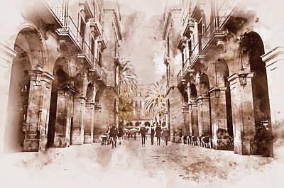 Painting - Barcelona, Streets - 05 by Andrea Mazzocchetti
