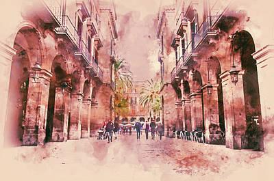 Painting - Barcelona, Streets - 06 by Andrea Mazzocchetti