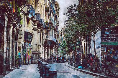 Painting - Barcelona, Streets - 12 by Andrea Mazzocchetti