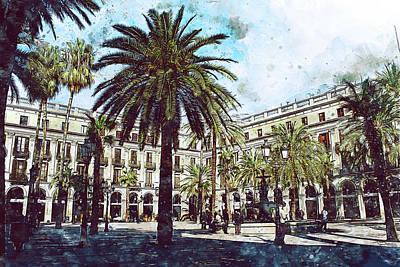 Painting - Barcelona, Streets - 13 by Andrea Mazzocchetti