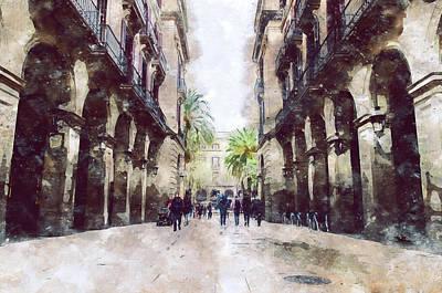 Painting - Barcelona, Streets - 14 by Andrea Mazzocchetti