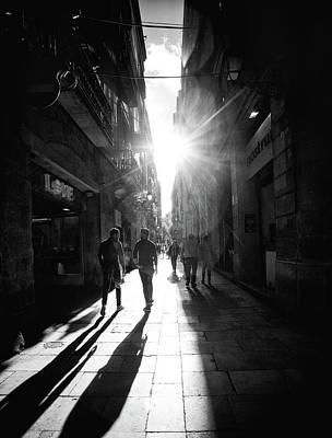 Laneway Photograph - Barcelona Sunburst - Blackandwhite by Janet Meehan