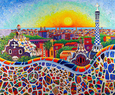 Antoni Gaudi Wall Art - Painting - Barcelona Sunrise Colors From Park Guell Modern Impressionism Knife Oil Painting Ana Maria Edulescu by Ana Maria Edulescu