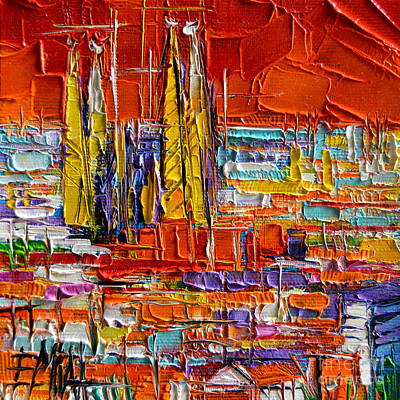 Sunset Abstract Painting - Barcelona View From Parc Guell - Abstract Miniature by Mona Edulesco