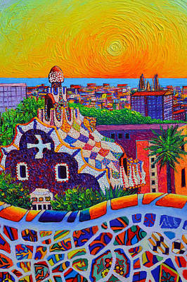 Painting - Barcelona View From Park Guell At Sunrise Sagrada Familia Knife Oil Painting Ana Maria Edulescu by Ana Maria Edulescu