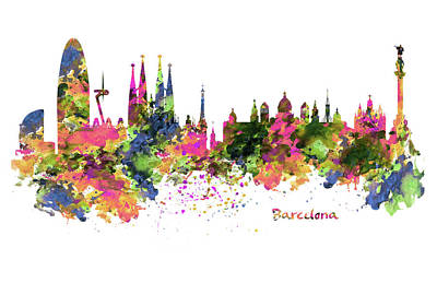 Skyline Mixed Media - Barcelona Watercolor Skyline by Marian Voicu
