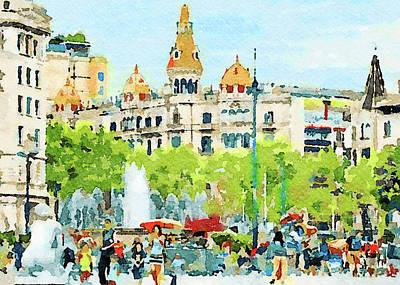 Digital Art - Barcelona Watercolors by Yury Malkov