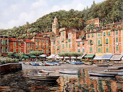 Harbor Painting - barche a Portofino by Guido Borelli
