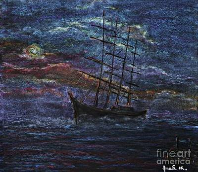 Pastel - Barco Negro- Tribute To Amalia Rodrigues by AmaS Art