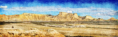 Photograph - Bardenas Desert Panorama 3 - Vintage Version by Weston Westmoreland