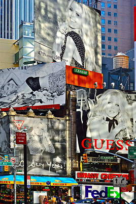 Bardot At Times Square Print by Gwyn Newcombe