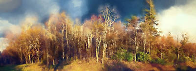 Digital Art - Bare Tree Sunset Panorama Blue Ridge Parkway Fx by Dan Carmichael