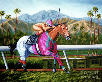 Horse Racing Painting - Bareback Rider by Tom Chapman