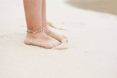 Ankle Bracelet Photograph - Barefoot Child With Ankle Bracelet On Beach by Newnow Photography By Vera Cepic
