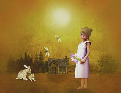 Little Girl Mixed Media - Barefoot Country Girl by KaFra Art