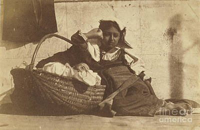1850s Painting - Barefoot Girl Leaning On Basket With A Doll by Celestial Images
