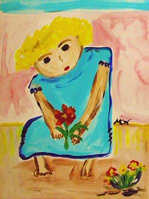 Painting - Barefoot Girl With A Flower by Mary Carol Williams