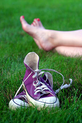 Barefoot In The Grass Art Print by David April