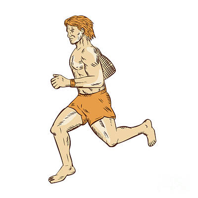 Jogging Digital Art - Barefoot Runner Running Side Etching by Aloysius Patrimonio