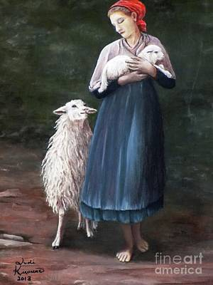 Young Lady Painting - Barefoot Shepherdess by Judy Kirouac