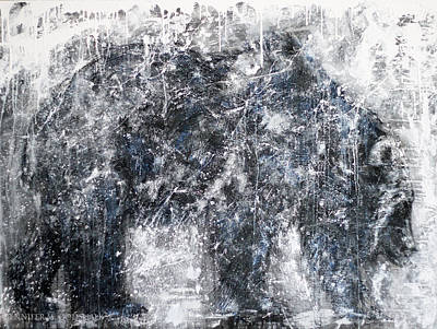 Painting -  Abstract Black And White Bear Painting Barely There Bear by Jennifer Godshalk